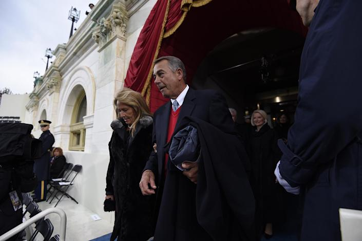 <p>Former Speaker of the House John Boehner and his wife Debbie arrive for the Presidential Inauguration of Trump at the US Capitol on January 20, 2017 in Washington, DC. (Photo: Saul Loeb – Pool/Getty Images) </p>