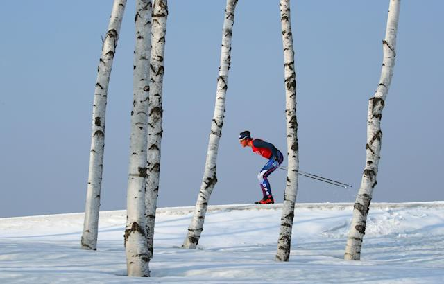 "Cross-Country Skiing - Pyeongchang 2018 Winter Olympics - Men's 50km Mass Start Classic Training - Alpensia Cross-Country Skiing Centre - Pyeongchang, South Korea - February 23, 2018 - An athlete from team U.S. trains. REUTERS/Carlos Barria SEARCH ""OLYMPICS BEST"" FOR ALL PICTURES. TPX IMAGES OF THE DAY."