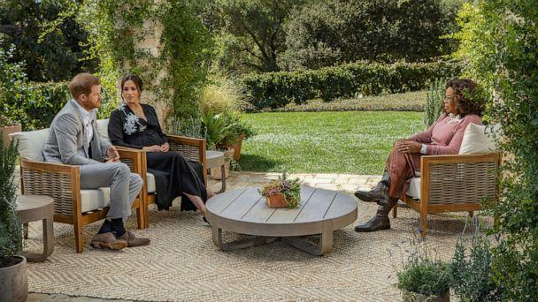 PHOTO: This image provided by Harpo Productions shows Prince Harry, from left, and Meghan, The Duchess of Sussex, in conversation with Oprah Winfrey. (Joe Pugliese/Harpo Productions via AP)