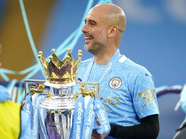 Pep Guardiola has lifted the Premier League trophy three times with Manchester City
