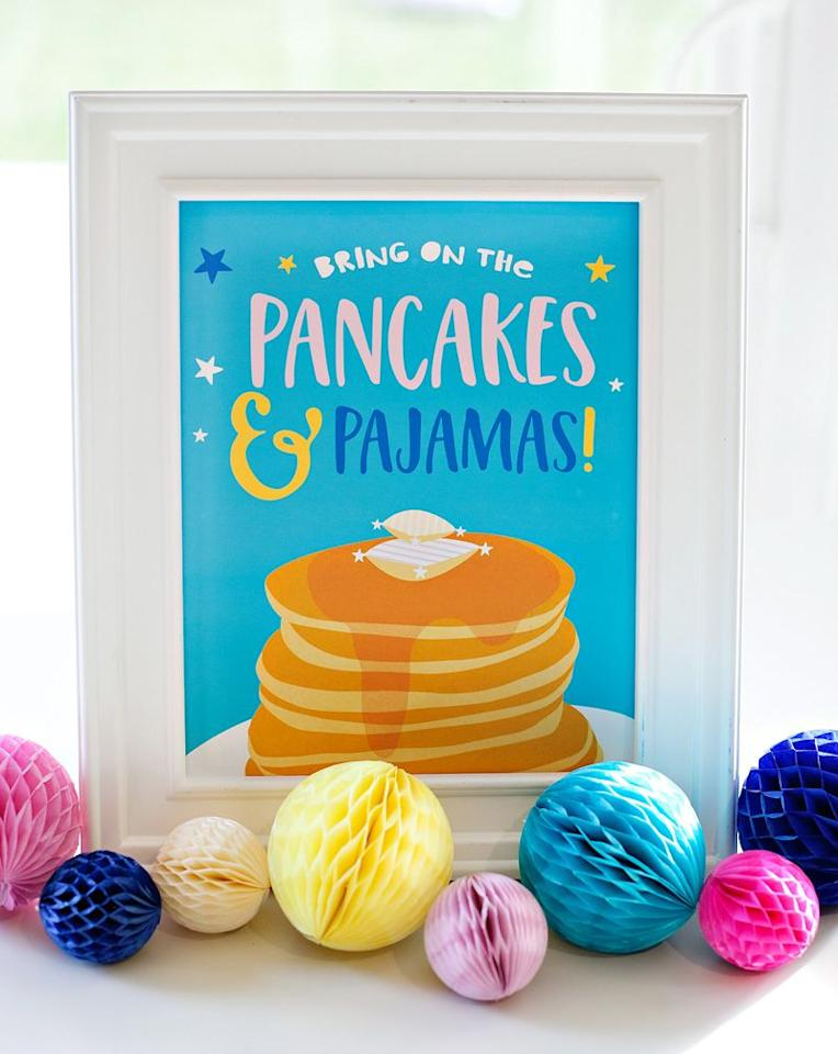 "<p>What kid wouldn't want to attend a party in their pajamas? Get cozy and let kids customize their pancakes with a variety of add-ins like strawberries, blueberries, or chocolate chips. And don't forget to top off a fresh stack with a heaping pat of butter, some syrup, and of course, whipped cream.</p><p><em>Get the tutorial at <a href=""https://www.hwtm.com/2017/01/pancakes-and-pajamas-party-ideas/"" target=""_blank"">Hostess with the Mostess</a>.</em></p>"