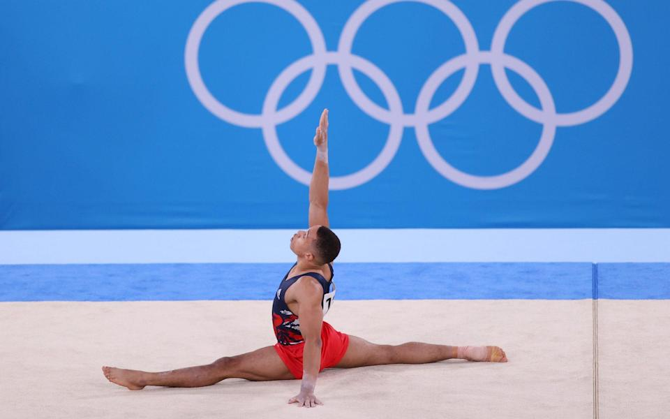 Joe Fraser of Team Great Britain competes in the floor exercise during the Men's All-Around Final on day five of the Tokyo 2020 Olympic Games at Ariake Gymnastics Centre on July 28, 2021 in Tokyo, Japan. (Photo by David Ramos/Getty Images)