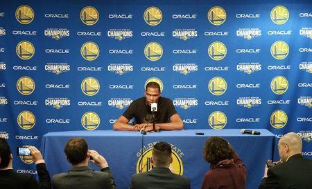 Mar 16, 2018; Oakland, CA, USA; Kevin Durant (35) addresses the media regarding his incomplete rib cartilage fracture injury before the game between the Golden State Warriors and Sacramento Kings at Oracle Arena. Mandatory Credit: Kelley L Cox-USA TODAY Sports