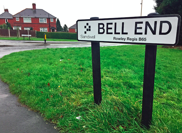 The Bell End sign in Rowley Regis, West Midlands (Photo: SWNS)