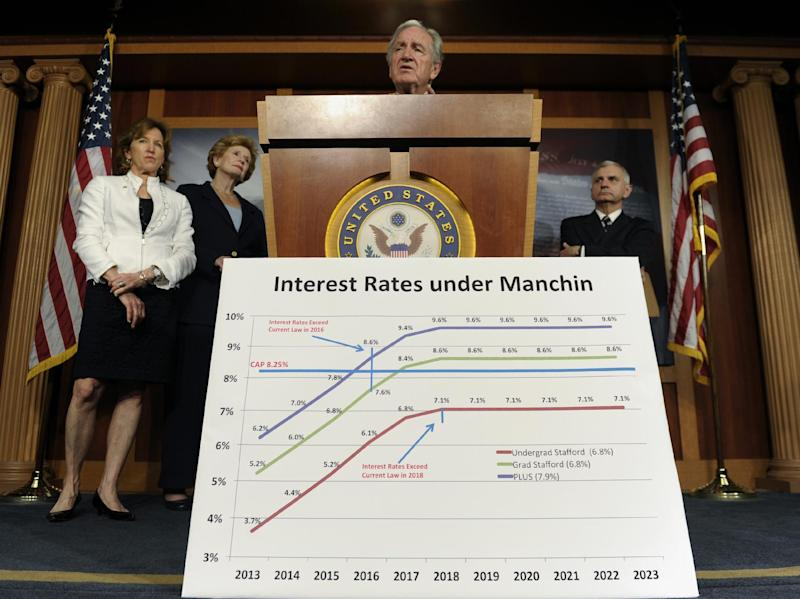 Senate Health, Education, Labor and Pension Committee Chairman Sen. Tom Harkin, D-Iowa, center, accompanied by, from left, Sen. Kay Hagan, D-N.C., Sen. Debbie Stabenow, D-Mich, and Sen. Jack Reed, D-R.I., talks about legislation to try and prevent the increase in the interest rates on some student loans, Thursday, June 27, 2013, during a news conference on Capitol Hill in Washington. (AP Photo/Susan Walsh)
