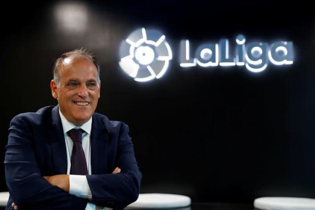 FILE PHOTO: La Liga President Javier Tebas poses during an interview with Reuters at the La Liga headquarters in Madrid