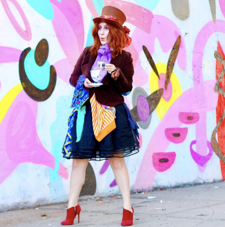 """<p>You have full permission to go a little mad while searching through your closet for this getup. Look for a full skirt, a blazer, and some scarves—the more mismatched the better. </p><p><a class=""""link rapid-noclick-resp"""" href=""""http://www.tfdiaries.com/2017/10/4-creative-costume-ideas-for-redheads.html"""" rel=""""nofollow noopener"""" target=""""_blank"""" data-ylk=""""slk:GET THE TUTORIAL"""">GET THE TUTORIAL</a></p><p><a class=""""link rapid-noclick-resp"""" href=""""https://www.amazon.com/Tigerdoe-Top-Hat-Costume-Costume/dp/B072J8X13L?tag=syn-yahoo-20&ascsubtag=%5Bartid%7C10072.g.33547559%5Bsrc%7Cyahoo-us"""" rel=""""nofollow noopener"""" target=""""_blank"""" data-ylk=""""slk:SHOP TOP HAT"""">SHOP TOP HAT</a></p>"""