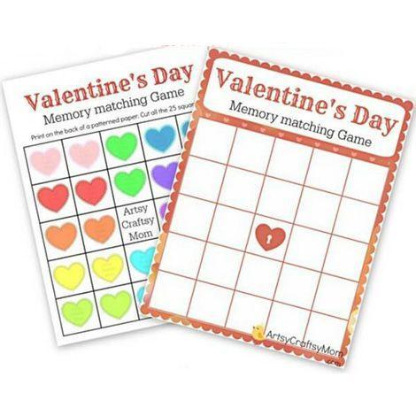 """<p>Just download and print this grid and the heart cards, and challenge your kids to find the matching-colored hearts. You might want to keep this one out after February 14!</p><p><em><a href=""""https://artsycraftsymom.com/free-printable-valentines-day-memory-game/"""" rel=""""nofollow noopener"""" target=""""_blank"""" data-ylk=""""slk:Get the tutorial at Artsy Craftsy Mom »"""" class=""""link rapid-noclick-resp"""">Get the tutorial at Artsy Craftsy Mom »</a></em></p>"""