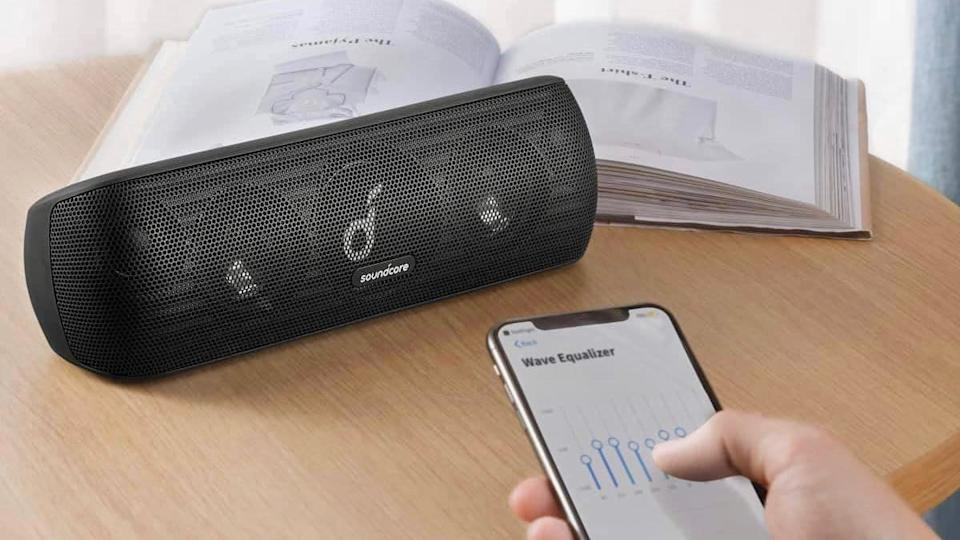 Anker SoundCore Motion+ being controlled by phone
