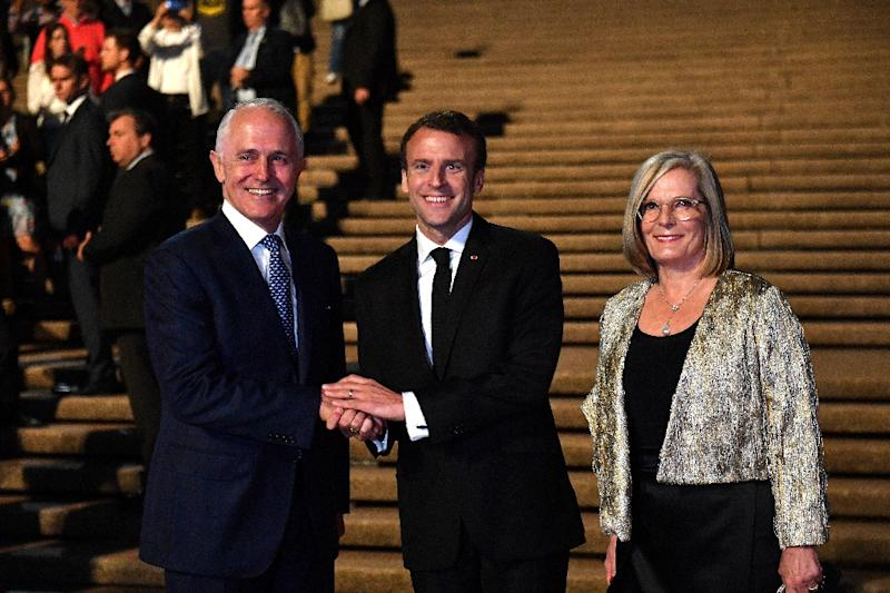 French President Emmanuel Macron, centre, thanked Australian Prime Minister Malcolm  Turnbull and his &quot