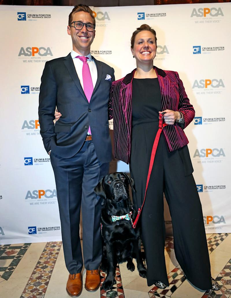 Downes and Kensky pose for photos with Rescue at the ASPCA Humane Awards in New York City in November.