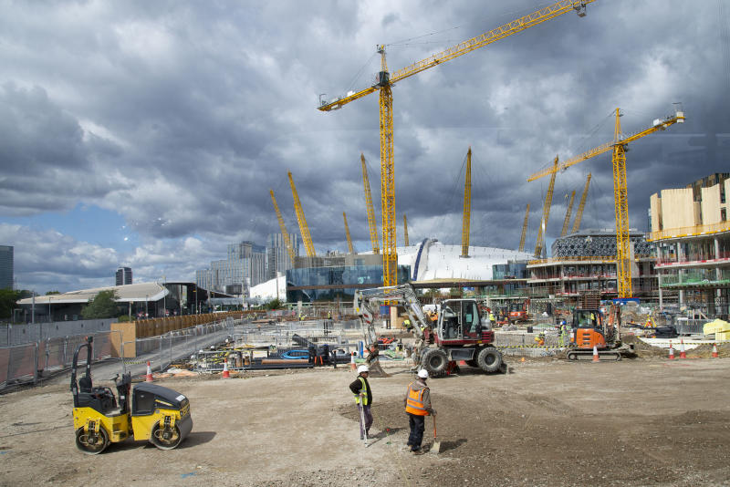 On going construction work at the Design District site in Greenwich Peninsula in London, United Kingdom on 15th August , 2019. Scheduled to fully open in 2020, developers Knight Dragon Developments Ltd aim to deliver 15,000 new homes. 13,000 new jobs. 7 new neighbourhoods.(photo by Claire Doherty/In Pictures via Getty Images)