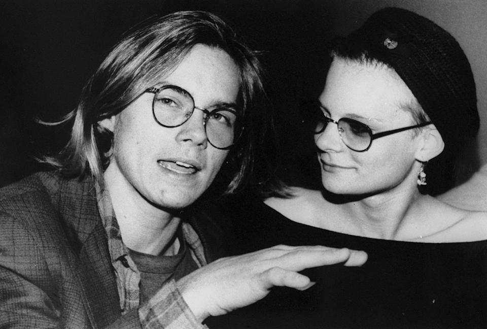 """UNITED STATES - FEBRUARY 17: Actors River Phoenix and Martha Plimpton enjoying """"Rock Against Fur"""" concert at the Palladium. (Photo by Richard Corkery/NY Daily News Archive via Getty Images)"""