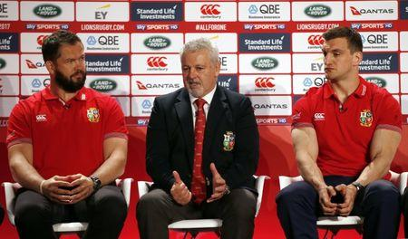 British & Irish Lions head coach Warren Gatland with defence coach Andy Farrell and captain Sam Warburton during the squad announcement