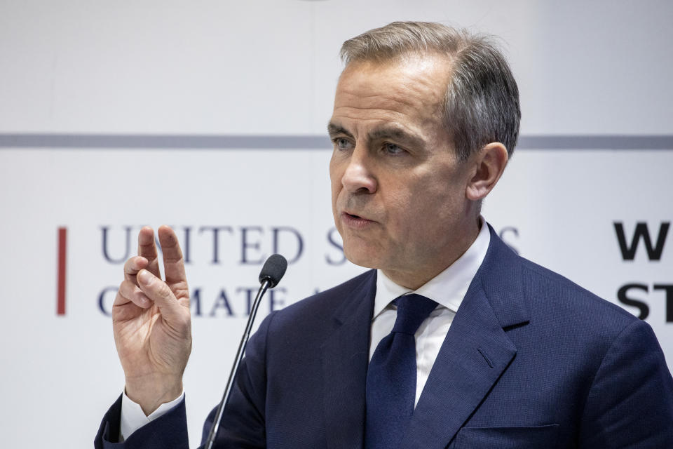 MADRID, SPAIN - DECEMBER 10: Governor of the Bank of England (BOE) Mark Carney speaks during a conference at the COP25 Climate Summit on December 10, 2019 in Madrid, Spain. The COP25 conference brings together world leaders, climate activists, NGOs, indigenous people and others for two weeks in an effort to focus global policy makers on concrete steps for heading off a further rise in global temperatures. (Photo by Pablo Blazquez Dominguez/Getty Images)