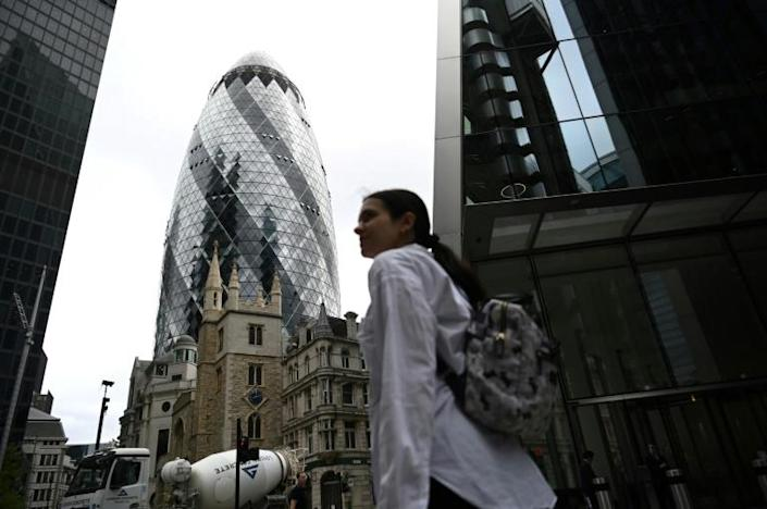 The City, a square mile in the heart of London and home of the finance industry, is largely empty during the coronavirus pandemic