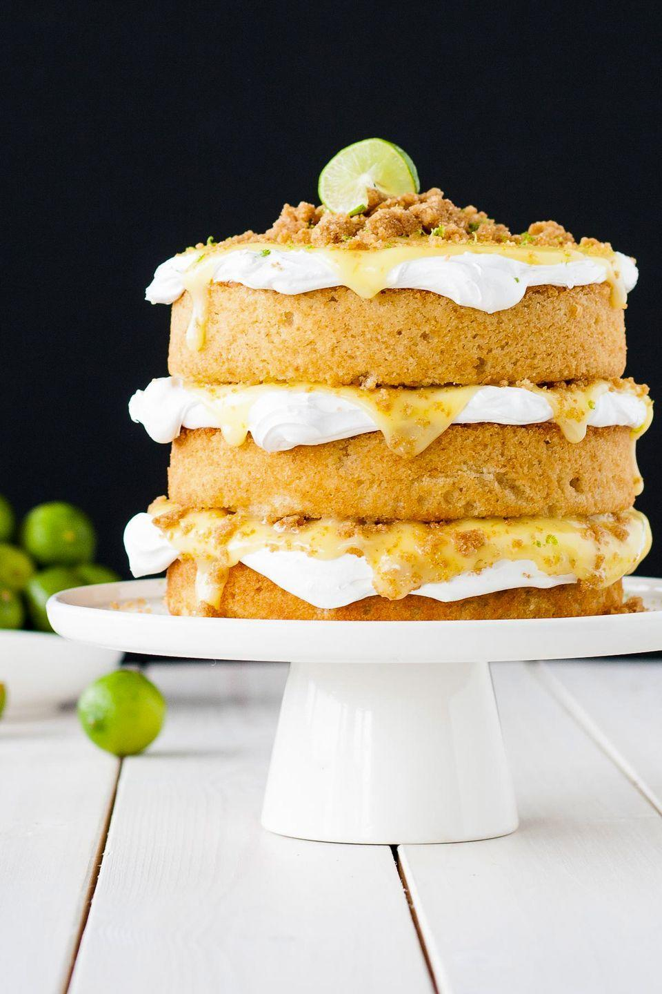 """<p>A slice of this citrusy cake plus a big ol' margarita will make him feel like he's on a tropical beach getaway ... kind of. </p><p><a href=""""https://livforcake.com/key-lime-pie-cake/"""" rel=""""nofollow noopener"""" target=""""_blank"""" data-ylk=""""slk:Get the recipe from Liv for Cake »"""" class=""""link rapid-noclick-resp""""><em>Get the recipe from Liv for Cake »</em></a></p>"""