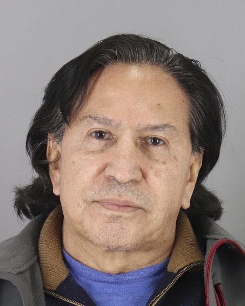 In this photo released Monday, March 18, 2019, by the San Mateo County Sheriff's Office is Alejandro Toledo. Authorities say a former Peruvian president who is wanted in connection with Latin America's biggest graft scandal was arrested in California on suspicion of public intoxication over the weekend and was briefly detained. San Mateo County Sheriff's Office spokeswoman Rosemerry Blankswade said Monday that Alejandro Toledo was arrested Sunday night near a restaurant near the San Francisco Bay city of Menlo Park. (San Mateo County Sheriff's Office via AP)