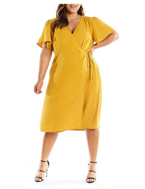Estelle yellow plus size curvy cocktail Christmas summer party midi dress
