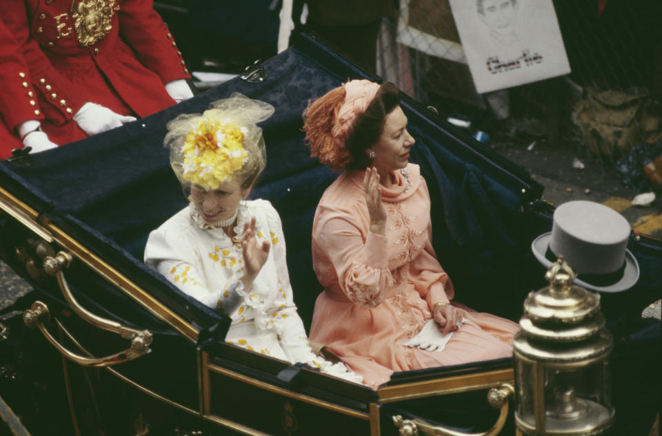 Entre las invitadas también estaban la princesa Ana, hija de Isabel II y Felipe de Edimburgo, y la princesa Margarita, hermana de la soberana. (Foto: Princess Diana Archive / Hulton Royals Collection / Getty Images)