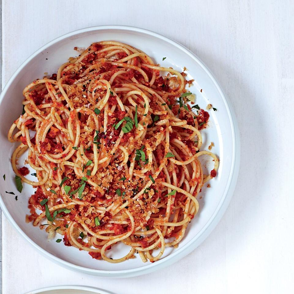 "<p><strong>Pairing:</strong> Fresh Sicilian white: 2010 Regaleali.</p> <p> <a href=""/slideshows/pasta""><strong>More Terrific Pasta Recipes</strong></a></p><p><a href=""https://www.foodandwine.com/recipes/spaghetti-with-sun-dried-tomato-almond-pesto"">GO TO RECIPE</a></p>"