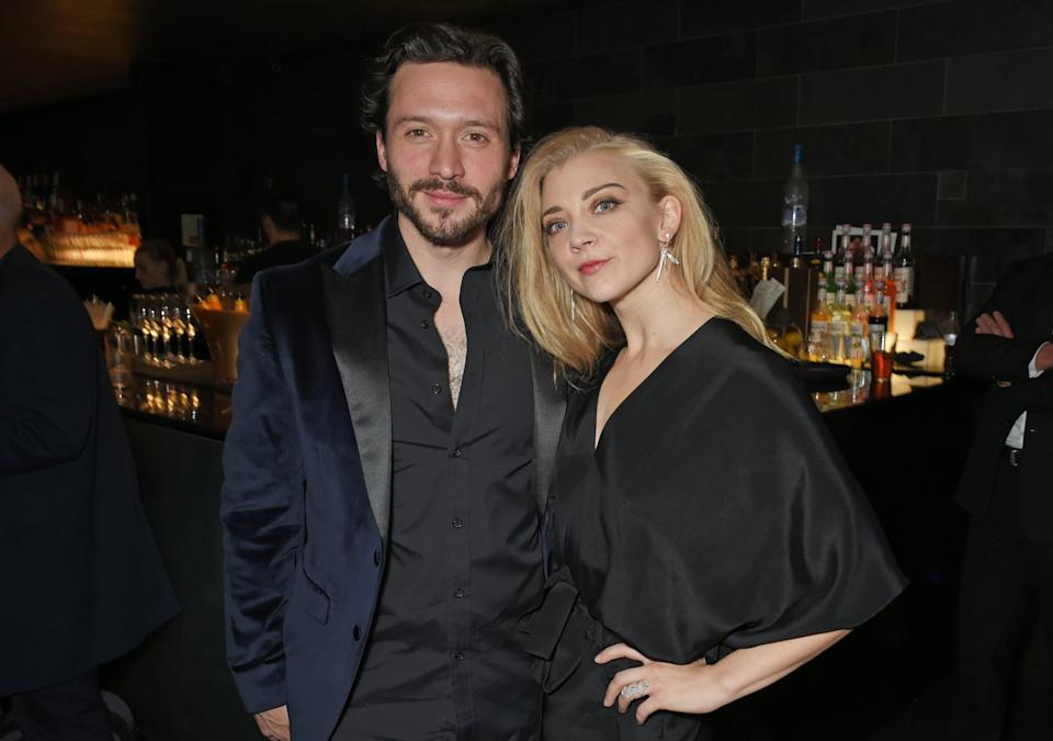 LONDON, ENGLAND - OCTOBER 17:  Cast members David Oakes (L) and Natalie Dormer attend the press night after party for