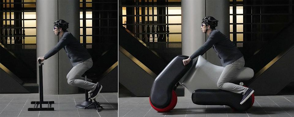 The Poimo inflatable motorcylce promotes accessibility unlike ever before by converting quickly and easily into a wheelchair.