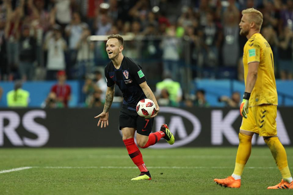 Ivan Rakitic of Croatia celebrates scoring his team's fifth penalty in the penalty shoot out during the 2018 FIFA World Cup Russia Round of 16 match between Croatia and Denmark at Nizhny Novgorod Stadium on July 1, 2018 in Nizhny Novgorod, Russia. (Getty Images)