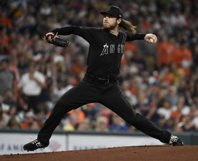 Los Angeles Angels starting pitcher Dillon Peters delivers during the first inning of a baseball game against the Houston Astros, Saturday, Aug. 24, 2019, in Houston. (AP Photo/Eric Christian Smith)
