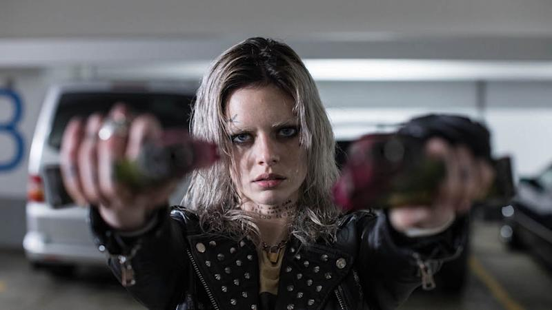 Samara Weaving as Nix in Guns Akimbo. (PHOTO: Golden Village Pictures)