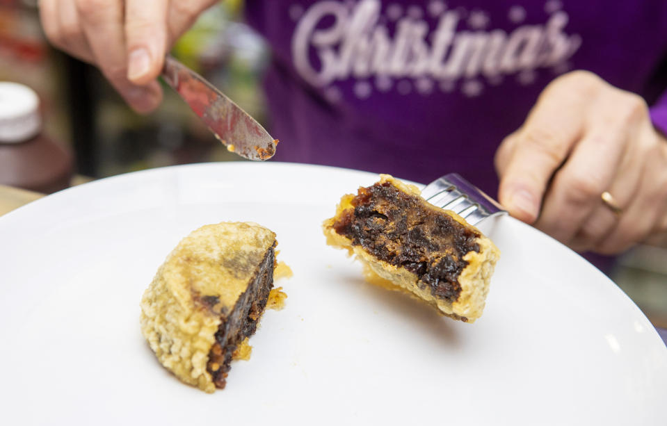 The individiaul deep-fried Christmas puddings contain 400 calories a piece. [Photo: SWNS]