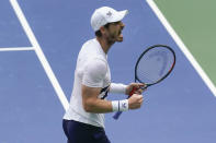 Andy Murray, of Great Britain, reacts after winning the third set against Yoshihito Nishioka, of Japan, during the first round of the US Open tennis championships, Tuesday, Sept. 1, 2020, in New York. (AP Photo/Seth Wenig)
