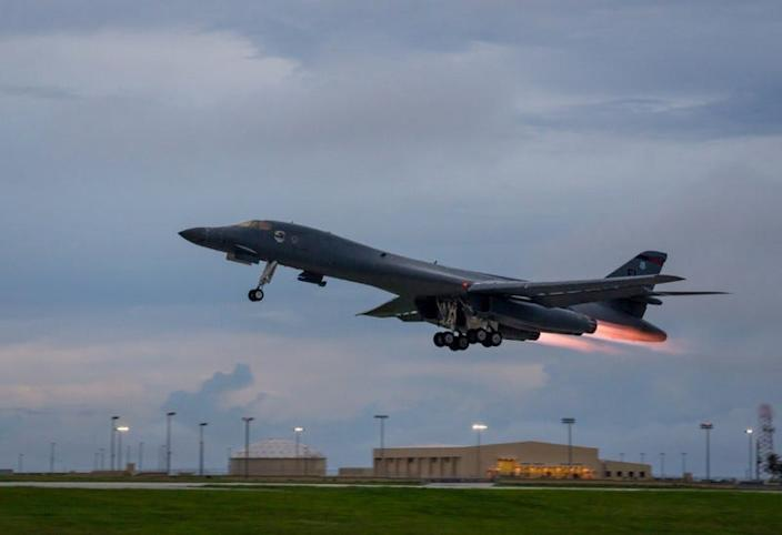 FILE PHOTO: A U.S. Air Force B-1B Lancer assigned to the 37th Expeditionary Bomb Squadron, takes-off to fly a bilateral mission with Japanese and South Korea Air Force jets in the vicinity of the Sea of Japan, from Andersen Air Force Base, Guam, October 10, 2017. Staff Sgt. Joshua Smoot/U.S. Air Force/Handout via REUTERS
