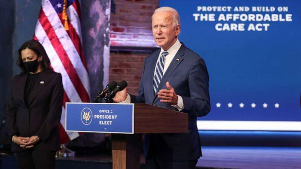 PHOTO: President-elect Joe Biden talks about protecting the Affordable Care Act (ACA) to reporters during an appearance in Wilmington, Delaware, Nov. 10, 2020. (Jonathan Ernst/Reuters)