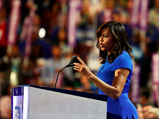 Michelle Obama takes aim at Donald Trump in rousing DNC speech