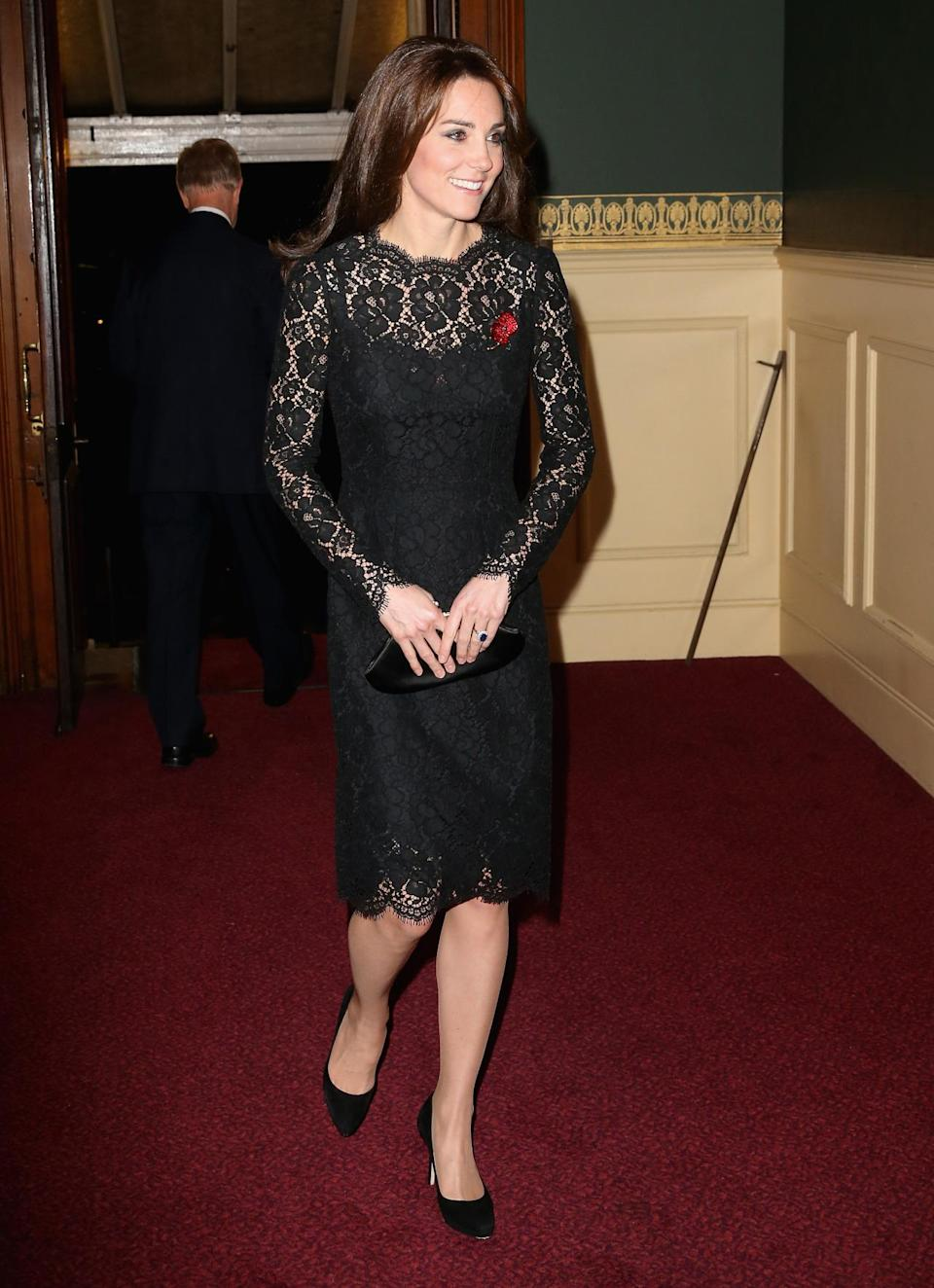 <p>Kate opted for a full designer look for 2015's Festival of Remembrance. Wearing a black lace Dolce & Gabbana dress, the Duchess accessorised with an Anya Hindmarch clutch and black Jimmy Choo pumps.</p><p><i>[Photo: PA]</i></p>