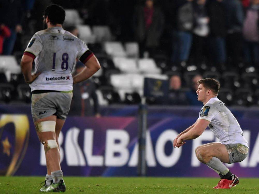 Owen Farrell appears dejected at the full-time whistle (Getty)