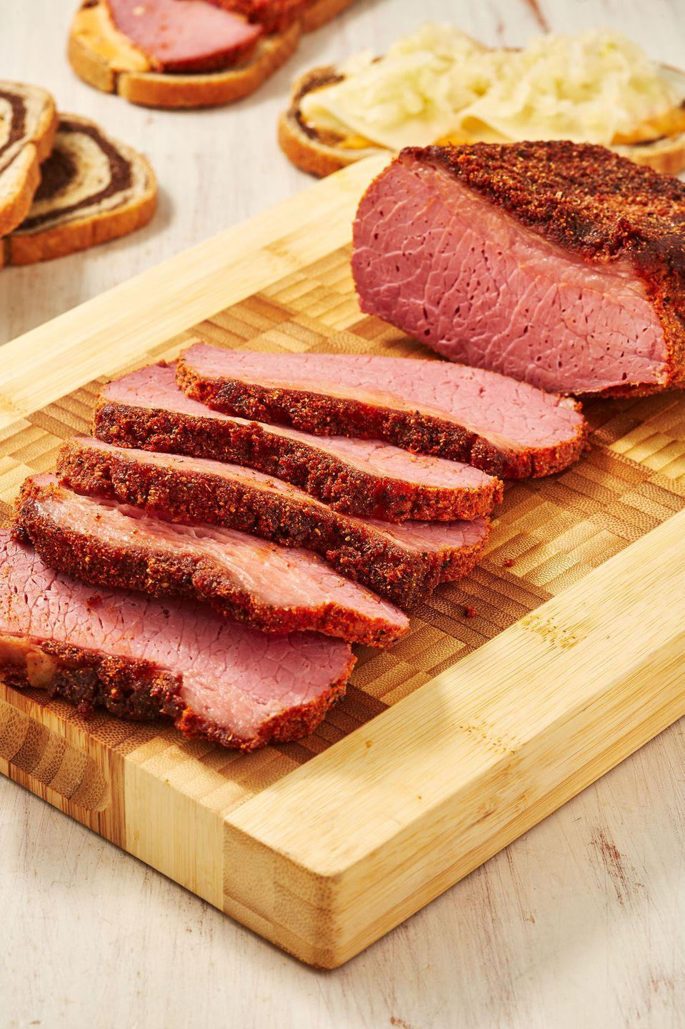 """<p>This might be the best corned beef EVER.</p><p>Get the recipe from <a href=""""https://www.delish.com/cooking/recipe-ideas/a30875688/smoked-corned-beef/"""" rel=""""nofollow noopener"""" target=""""_blank"""" data-ylk=""""slk:Delish."""" class=""""link rapid-noclick-resp"""">Delish. </a></p>"""