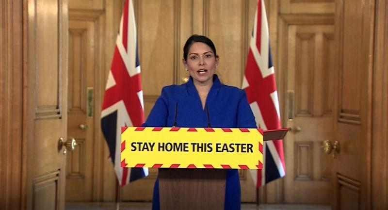Screen grab of Home Secretary Priti Patel during a media briefing in Downing Street, London, on coronavirus (COVID-19).
