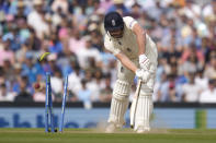 England's Jonny Bairstow is bowled by India's Jasprit Bumrah on day five of the fourth Test match at The Oval cricket ground in London, Monday, Sept. 6, 2021. (AP Photo/Kirsty Wigglesworth)