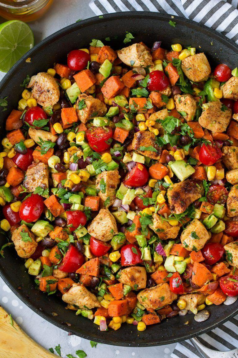 """<p>This <a href=""""https://www.countryliving.com/food-drinks/g674/one-dish-meals-0109/"""" rel=""""nofollow noopener"""" target=""""_blank"""" data-ylk=""""slk:one-pan meal"""" class=""""link rapid-noclick-resp"""">one-pan meal</a> is a snap to whip up and super delicious and hearty. <br></p><p><strong>Get the recipe at <a href=""""https://www.cookingclassy.com/mexican-honey-lime-chicken-sweet-potato-and-black-bean-skillet-burrito-bowls/"""" rel=""""nofollow noopener"""" target=""""_blank"""" data-ylk=""""slk:Cooking Classy"""" class=""""link rapid-noclick-resp"""">Cooking Classy</a>.</strong></p>"""