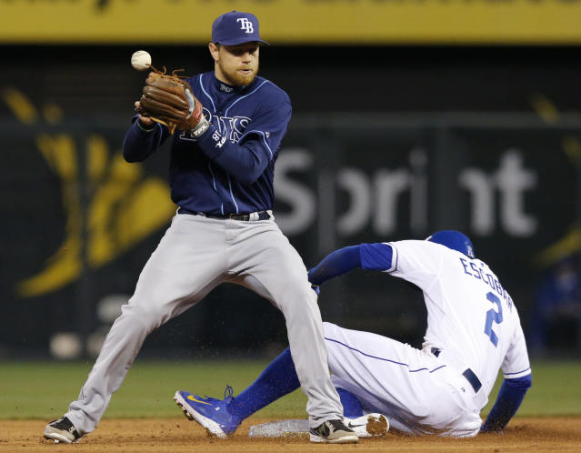 FILE - In this April 8, 2014, file photo, Tampa Bay Rays second baseman Ben Zobrist bobbles the ball as Kansas City Royals' Alcides Escobar (2) slides into second base during the third inning of a baseball game at Kauffman Stadium in Kansas City, Mo. Escobar was called safe and review of the play stood. Baseball clarified the meaning of possession for infielders trying to turn double plays on forceouts, saying on Friday, April 25, that they must have complete control of the ball but may drop it after intentionally opening their gloves for transfers to their throwing hands. In the first season of expanded instant replay, when infielders have possession while trying to turn double plays has become controversial. (AP Photo/Orlin Wagner, File)