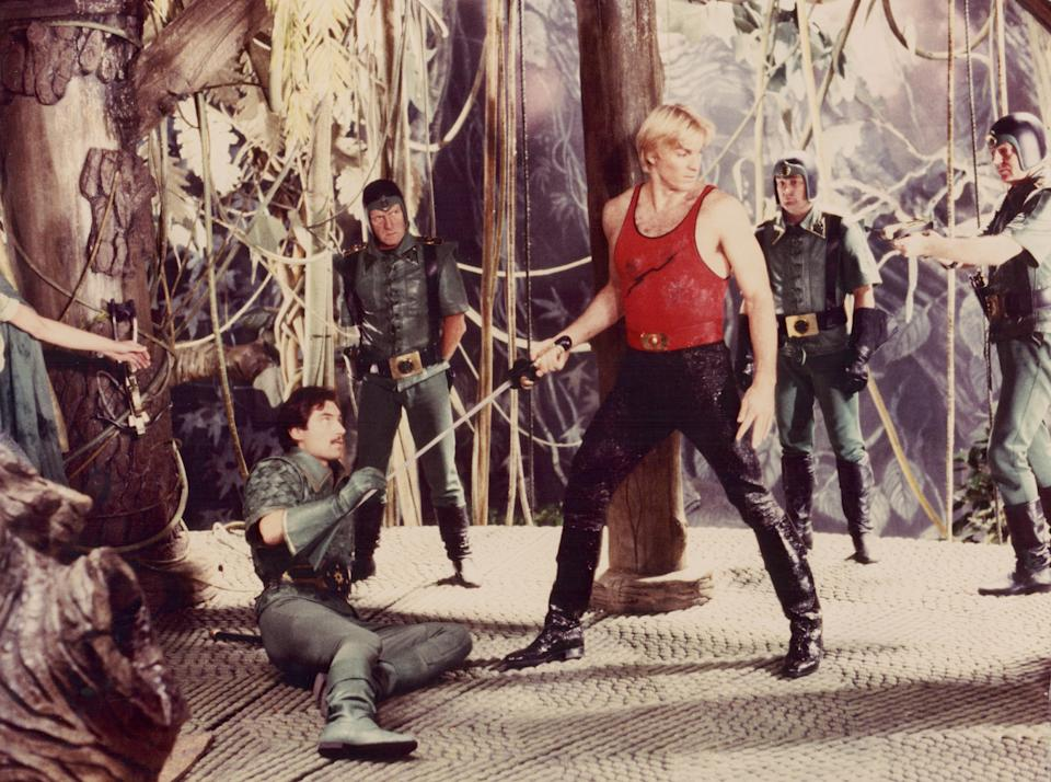Actors Sam J. Jones and Timothy Dalton in a scene from the film 'Flash Gordon', 1980. (Photo by Stanley Bielecki Movie Collection/Getty Images)