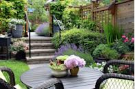 <p>Covered with ivy, a frill-free fence acts as a natural privacy barrier to shield a patio or garden from view.</p>