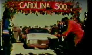 David Pearson drives into victory lane after winning the Carolina 500 (YouTube).