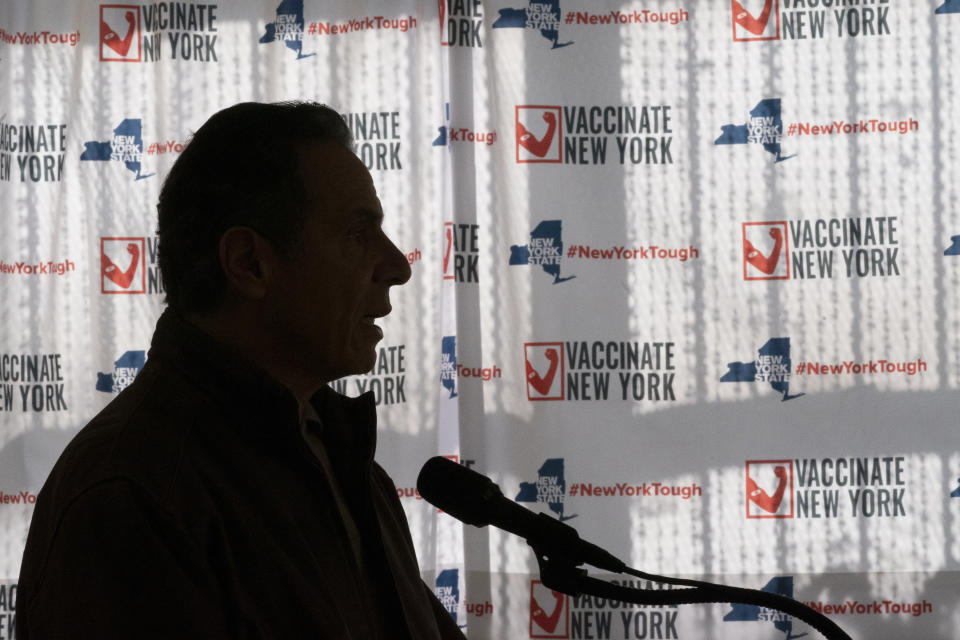 FILE - In this Jan. 23, 2021, file photo New York Gov. Andrew Cuomo speaks to reporters during a news conference at a COVID-19 pop-up vaccination site in the William Reid Apartments in the Brooklyn borough of New York. (AP Photo/Mary Altaffer, Pool, File)