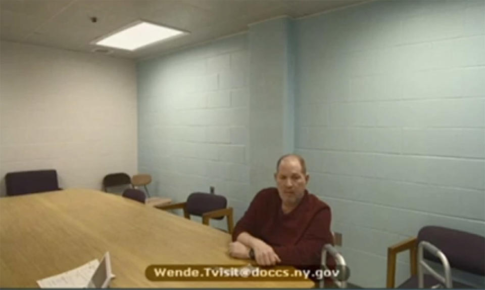 In this image taken from video, Harvey Weinstein appears from prison during his virtual extradition hearing in Erie County Court before Judge Kenneth Case, Monday, April 12, 2021, in Buffalo, N.Y. (New York Unified Court System via AP)