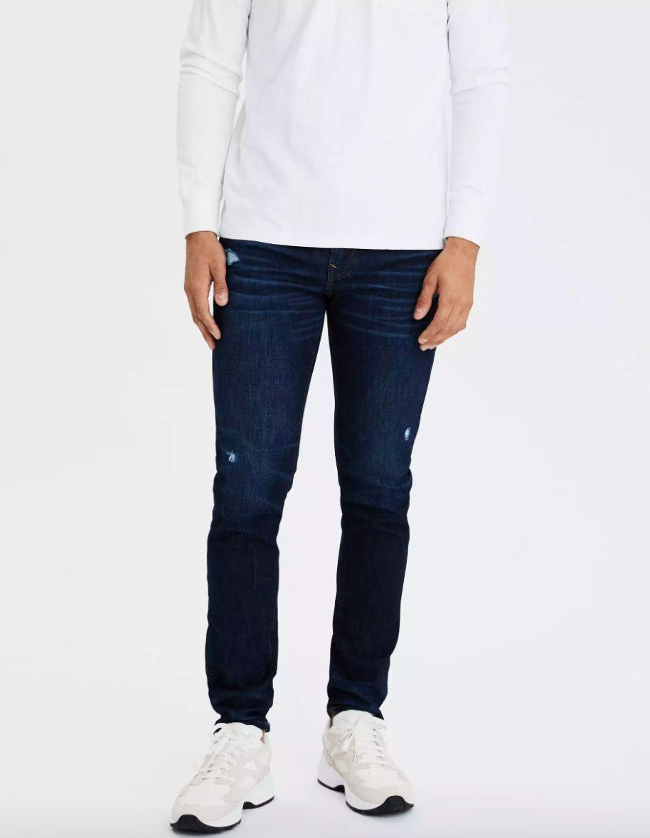 """This denim might be a little distressed, but you won't be when you have them on: This pair has over 60 reviews and a 4.9-star rating. <a href=""""https://fave.co/305HsTK"""" target=""""_blank"""" rel=""""noopener noreferrer""""><strong>Find this pair at American Eagle</strong></a>."""