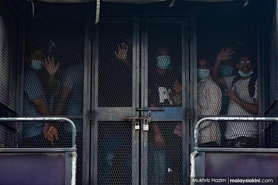 Around 200 undocumented migrants were detained following an Immigration Department operation at the areas around Petaling Jaya Old Town under the enhanced MCO on May 20, 2020.