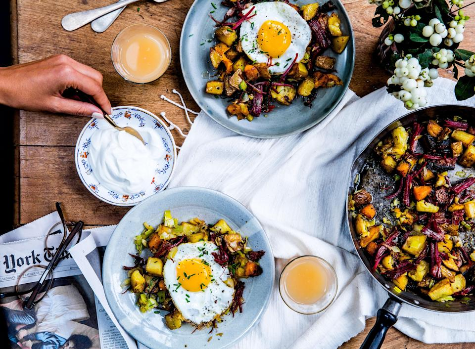 """<a href=""""https://www.bonappetit.com/recipe/pastrami-and-potato-hash-with-fried-eggs?mbid=synd_yahoo_rss"""" rel=""""nofollow noopener"""" target=""""_blank"""" data-ylk=""""slk:See recipe."""" class=""""link rapid-noclick-resp"""">See recipe.</a>"""